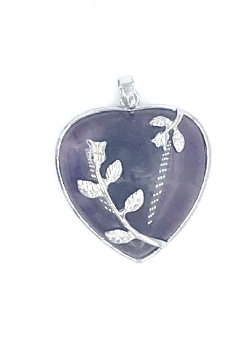 Amethyst Heart Silver Heart Pendant (comes without chain)