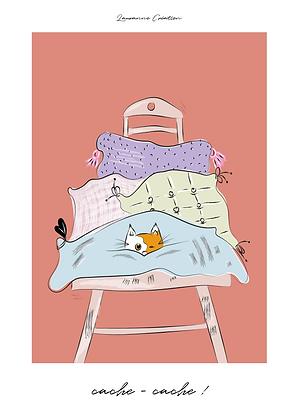 Illustration chat - Affiche A4