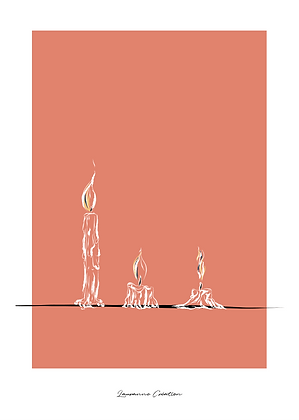 Illustration bougies - Affiche A4