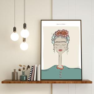Réalisation d'une affiche illustrée, représentant Frida Kahlo, à retrouver sur mon shop.