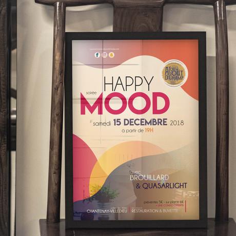 Affiche pour annoncer la soirée Happy Mood.