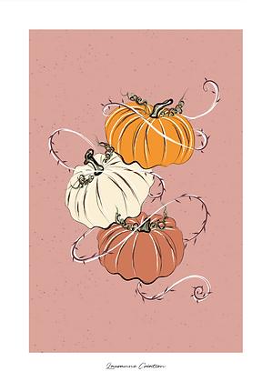 Illustration citrouilles Halloween  - Affiche A4