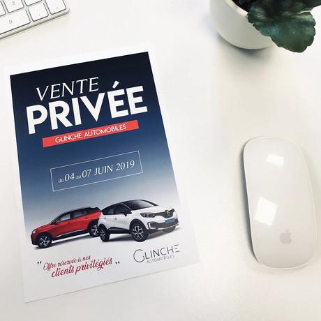 Flyer Vente Privée GLINCHE AUTOMOBILES - Réalisation pendant mon contrat dans l'entreprise, au poste d'infographiste.