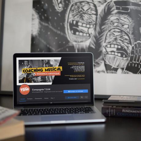 Déclinaison de l'affiche coaching musical et résidence artistique, pour la couverture facebook.