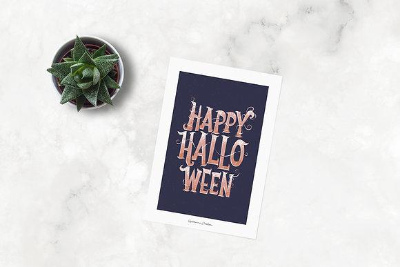 Illustration typographie Halloween  - Affiche A4