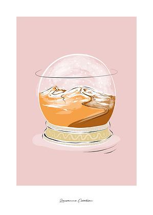 Illustration dunes boule de verre  - Affiche A4