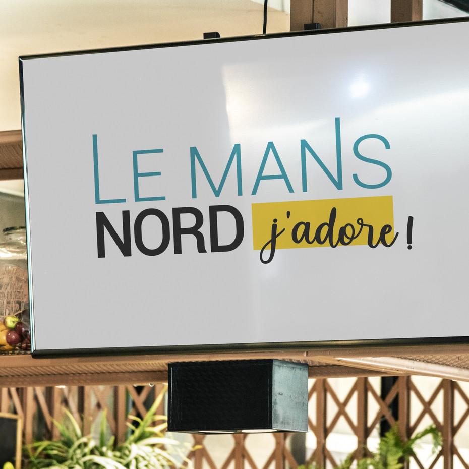 """Refonte du logotype typographique pour les commerces du Mans Nord : """"LE MANS NORD J'ADORE"""". Le logotype est à destination du magazine du PETIT SARTHOIS."""
