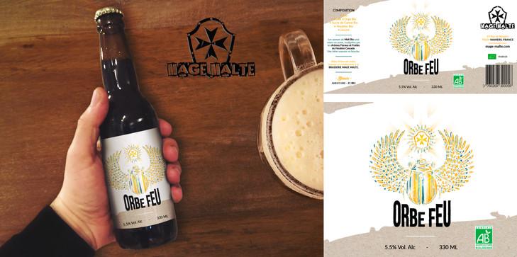 Refonte étiquette bière Orbe Feu - Mage Malte