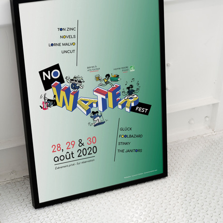 Affiche typographique et illustrée, pour la 2ème édition du Festival - Édition annulée