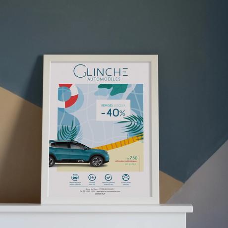Affiche GLINCHE AUTOMOBILES - Réalisation pendant mon contrat dans l'entreprise, au poste d'infographiste.