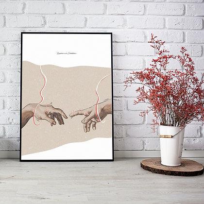 """Illustration """"La Création d'Adam""""  - Affiche A4"""
