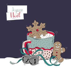 Illustration pour les cartes de Noël, en vente sur mon shop.