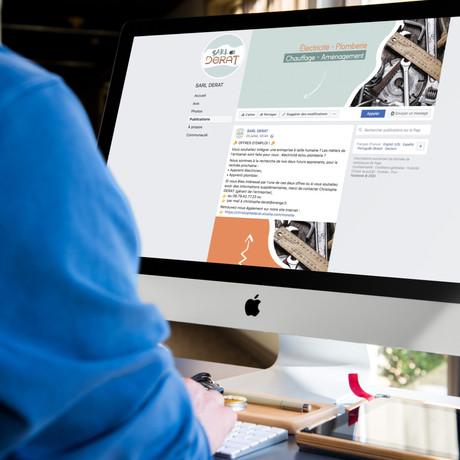Déclinaison du logotype et du site internet, pour les visuels de Facebook : photo de profil, couverture et posts.