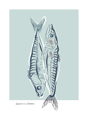 Illustration poissons - Affiche A4