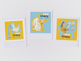 Illustrations publiées sur les réseaux sociaux pour Pâques 2020.