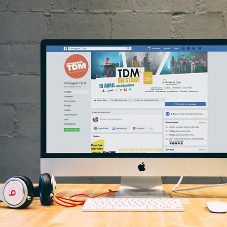 Déclinaison de l'affiche TDM On Stage, pour la couverture Facebook.