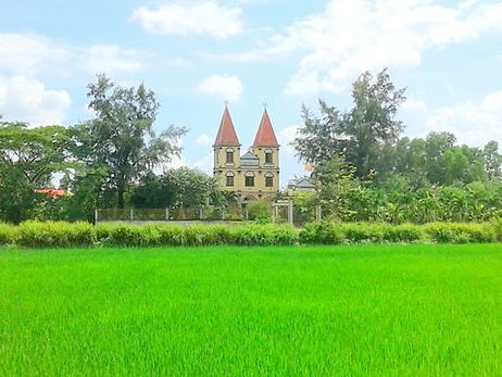 Rice production with a Church in backyard