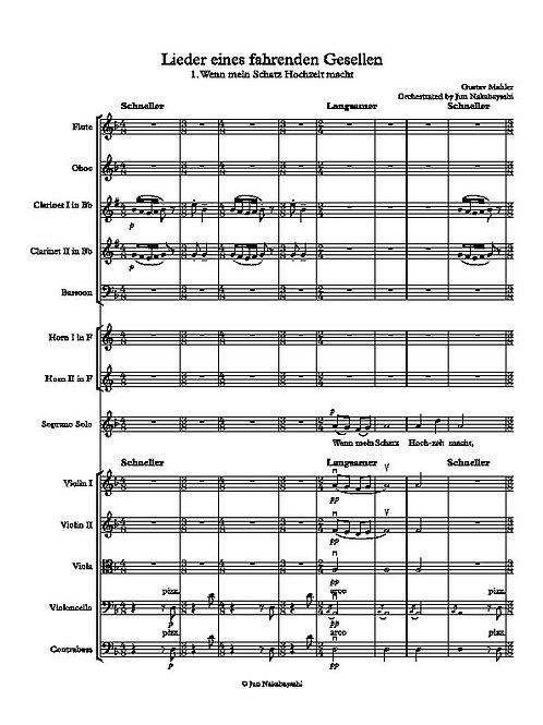 Mahler: Lieder eines Fahrenden Gesellen for 12 players and a singer