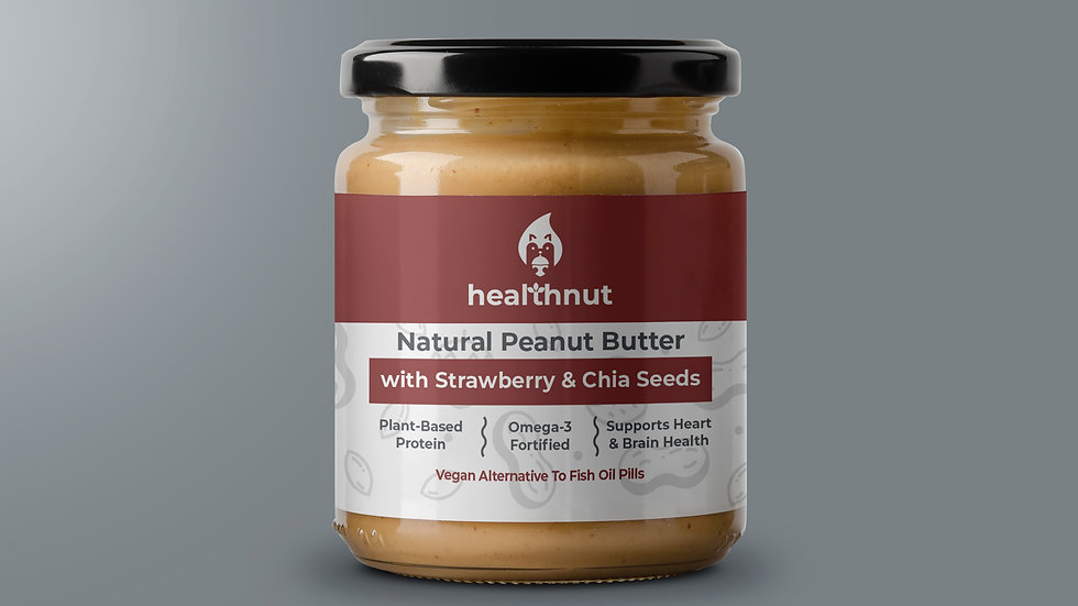 natural peanut butter with strawberry & chia seeds