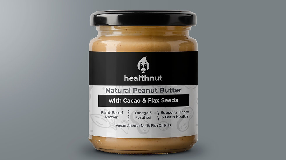 natural peanut butter with cacao & flax seeds