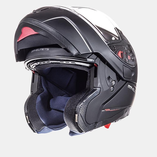 atom sv solid matt black flip up helmet