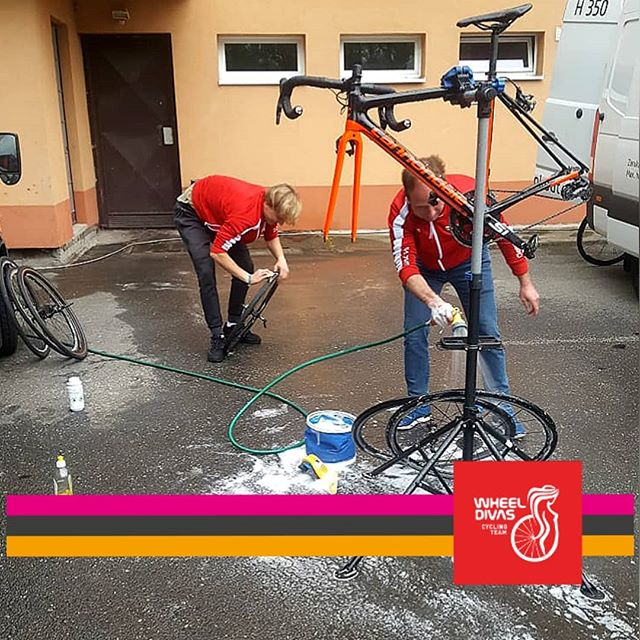 Staff cleaning team- bikes