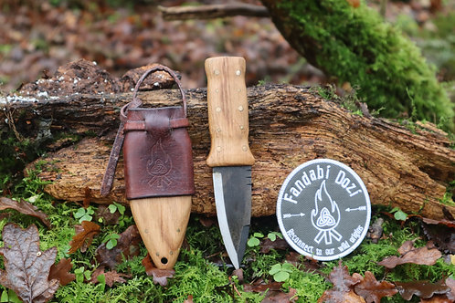 (7) Light Oak, Dark Leather, Large Brass Pins, Survival Sgian Dubh