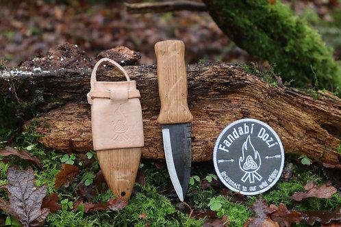 (2) Light Oak, Light Leather, Small Brass Pins, Survival Sgian Dubh