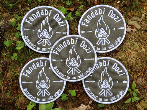 """""""Fandabi Dozi"""" Embroidered Patch- Olive Green and White"""
