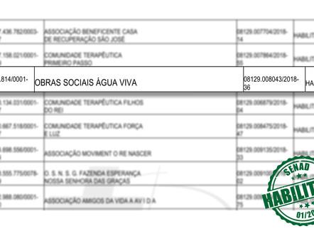 ÁGUA VIVA É CREDENCIADA NO EDITAL 01/2018 DA SENAD