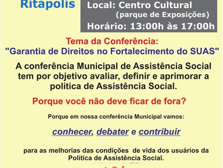 Política de Assistência Social será tema de Conferência