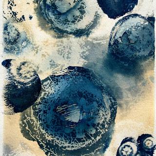 """Corridor 14 x 18"""" Cyanotype & Washes"""