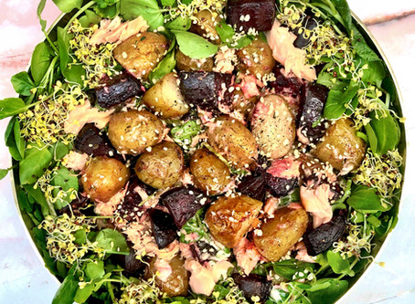 beetroot, potato, salmon & watercress salad