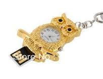 8GB Gold Owl Flash Drive /w Clock