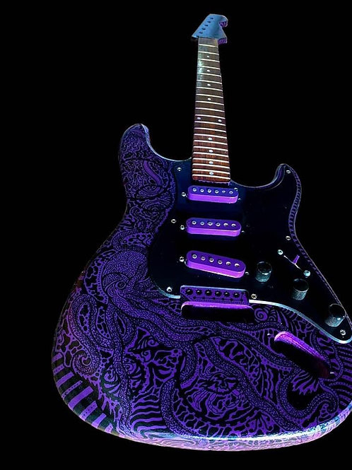 Custom Zentangle Guitar Painting