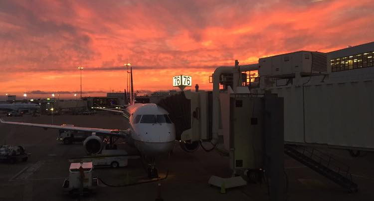 The sunrise over Terminal B