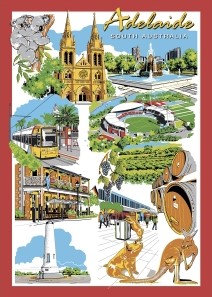 Adelaide South Australia Illustrated Vintage PC242