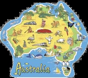 Map of Australia Illustrated Shape Postcard PC192
