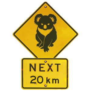 Koala Road Sign Australia Shape Postcard PC223