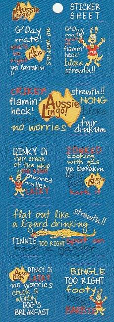Aussie Lingo Sticker Sheet ST2