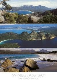 Wineglass Bay Tasmania Australia (3 scene) Postcard PC273