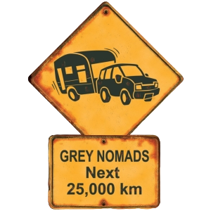 Grey Nomads Road Sign Australia Shape Postcard PC225