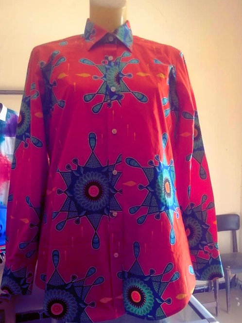 Women's flaired wax print blouse