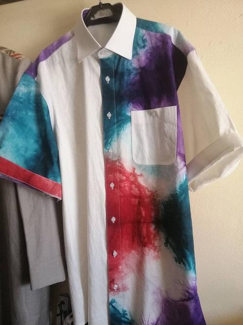Men's  linen shirt, custom dyed.