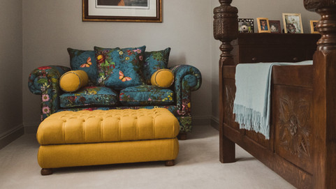 Modern Sofa Recover With Deep Buttoned Footstool