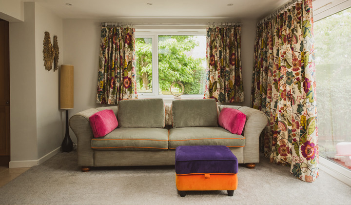 Sofa Revamp, Pouffe Recover and Curtains