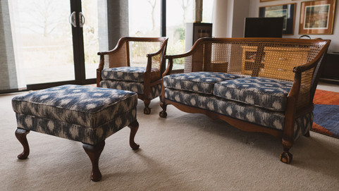 Bergere Style Suite and Footstool Recover