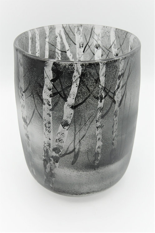 Glasvase gemalt Birkenmotiv