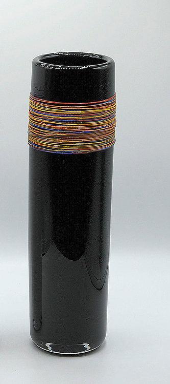 Vasenobjekt m. bunten Fäden nachtblau