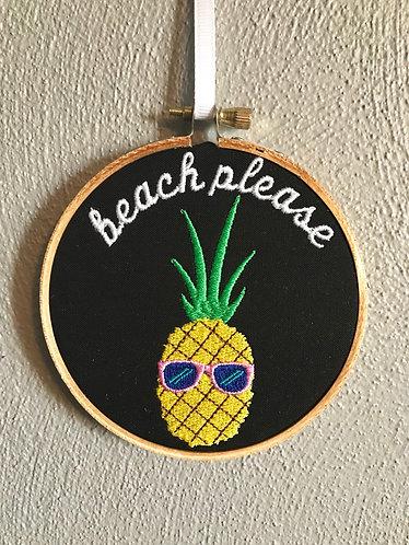 "Embroidered Art - ""Beach Please"""